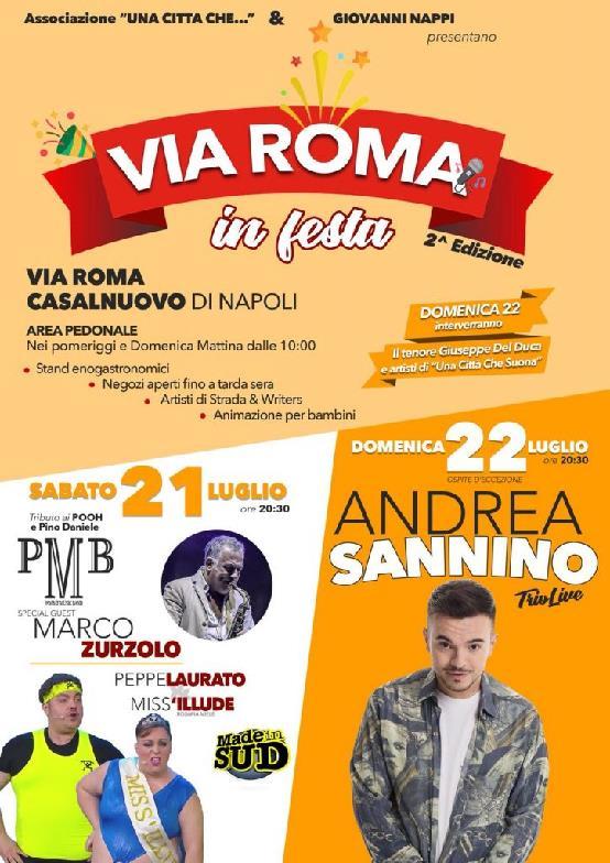 """A Casalnuovo il 21 e 22 luglio """"Via Roma in Festa"""""""