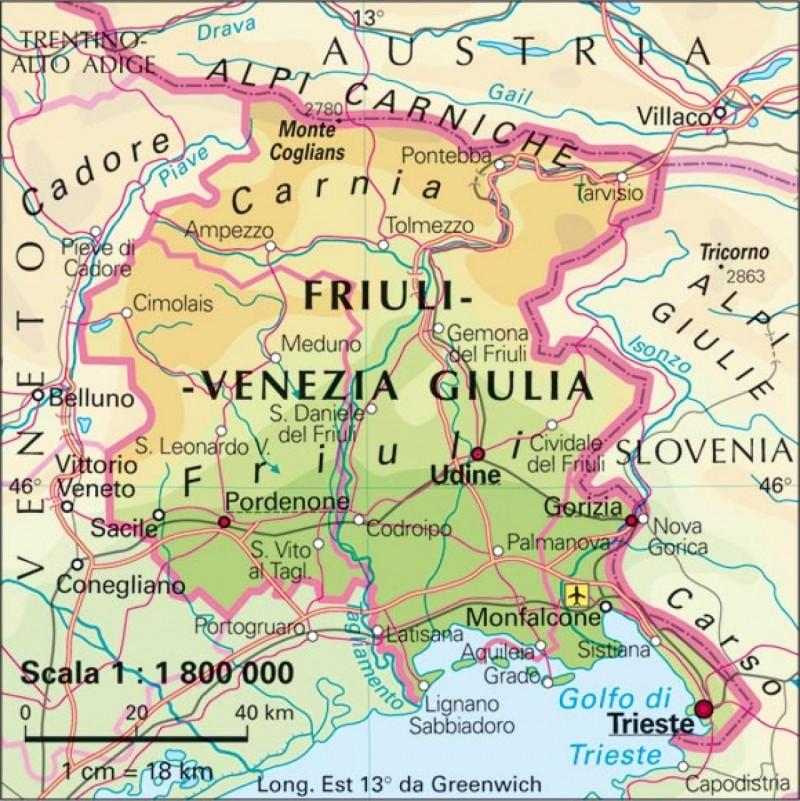 Cartina Friuli Venezia Giulia Province.Terremoto Oggi Friuli Venezia Giulia M 3 9 Avvertita In Provincia Di Udine Il Gazzettino Di Livorno