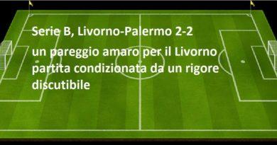 Serie B, Livorno-Palermo 2-2 un pareggio amaro per il Livorno partita condizionata da un rigore discutibile